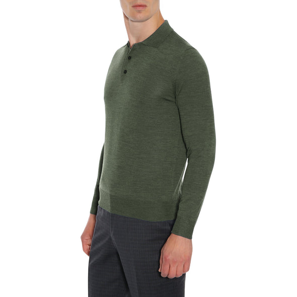 CANALI COTTON LONG SLEEVE POLO