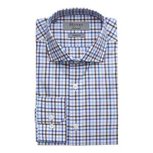 HENRY SARTORIAL BLUE CHECK SHIRT