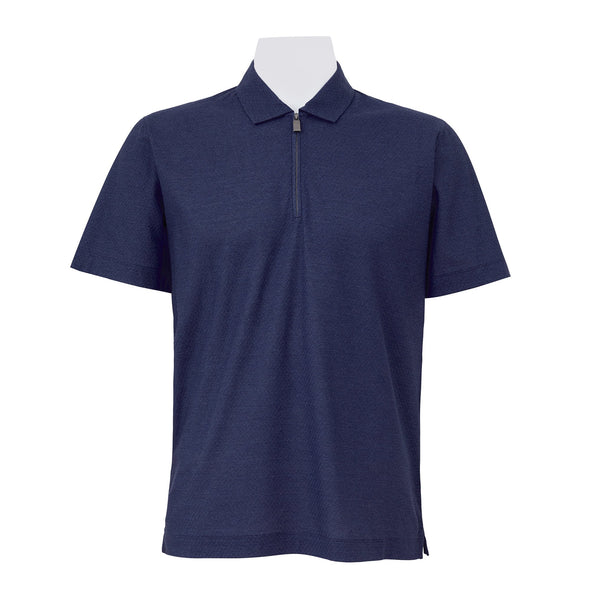 CANALI TEXTURED ZIPPED POLO