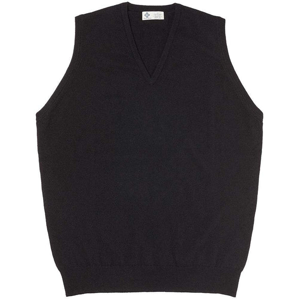 CASHMERE KNITTED VEST- BLACK