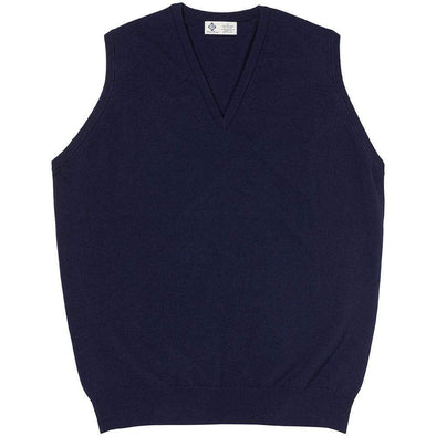 CASHMERE KNITTED VEST- NAVY