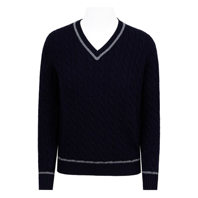 HENRY SARTORIAL V-NECK CABLE KNIT