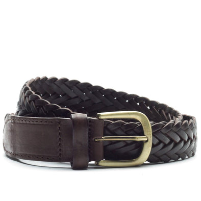 ROYAL REP PLAIT BELT DARK BROWN