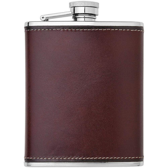 Henry Bucks-Toscana Leather Bound Hip Flask-Henry Bucks