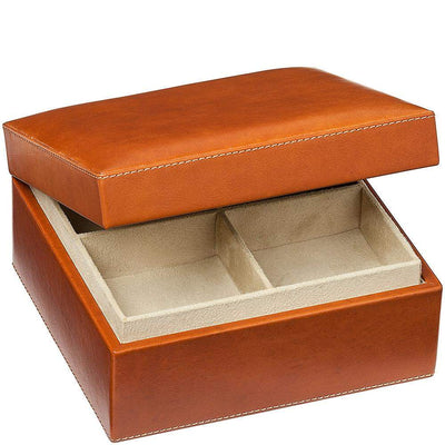 REDD LEATHER-Square Leather Jewellery Box with Tray-Henry Bucks