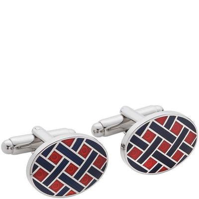 Non-Branded Products-Henry Bucks Crosshatch 2 Coloured Cufflinks-Henry Bucks