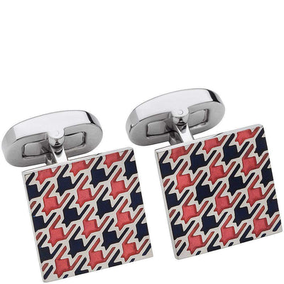 HB Square With Coloured Houndstooth Cufflinks