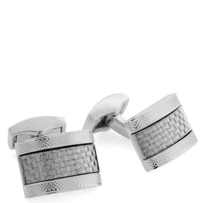 TATEOSSIAN-Tateossian Rhodium and Carbon Fiber Cufflinks-Henry Bucks