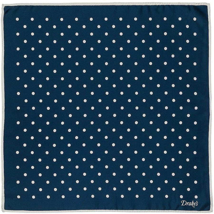 Drakes Spots Print Pocket Square