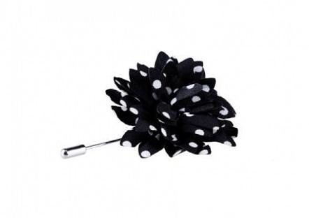 Black/White Flower Lapel Pin -