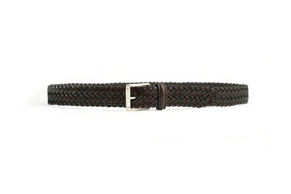 ANDERSONS HAND WOVEN BELT BROWN