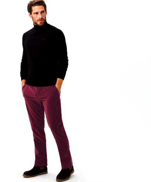 BRAX EVANS PIN CORD TROUSER- BORDEAUX