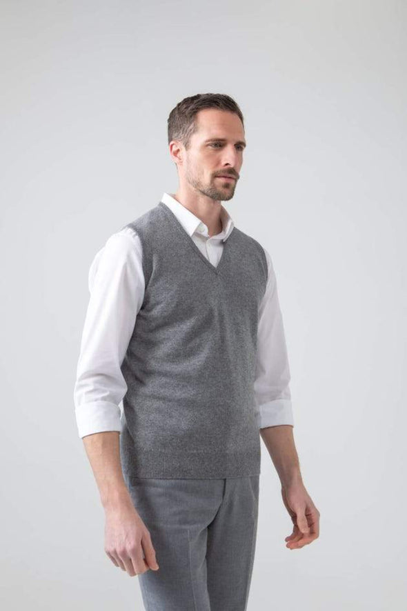 CASHMERE KNITTED VEST- GREY