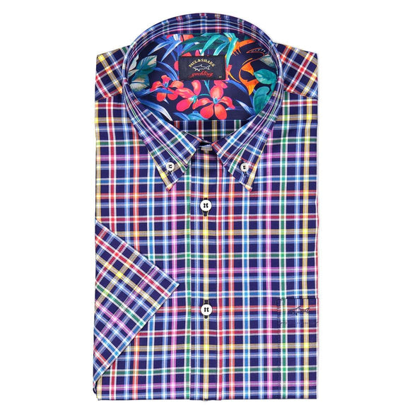 PAUL & SHARK CHECKED SHORT SLEEVE SHIRT