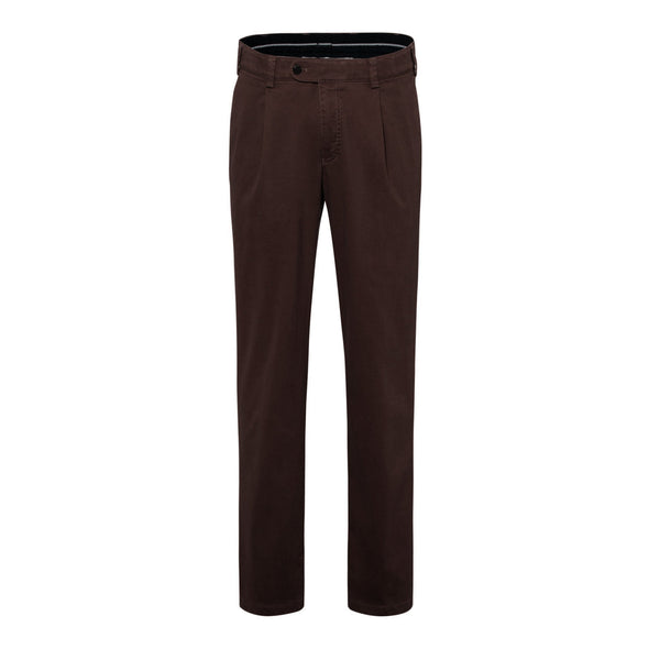 BRAX LUIS PLEAT FRONT COTTON TROUSERS - CHOCOLATE
