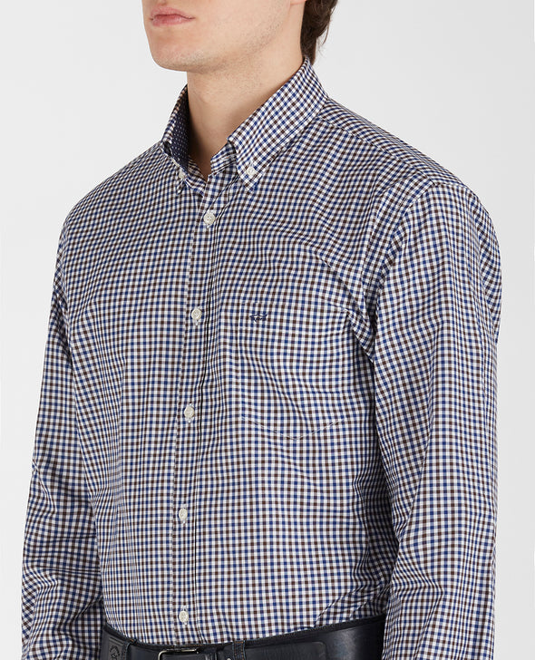 PAUL & SHARK GINGHAM SHIRT BROWN/NAVY