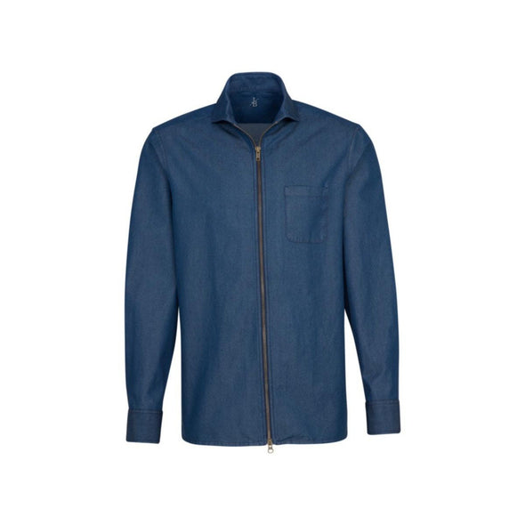 JACQUES BRITT DENIM ZIP FRONT SHIRT
