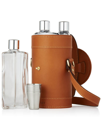 LEATHER CASED TRIPLE FLASK & POSITION FINDER SET