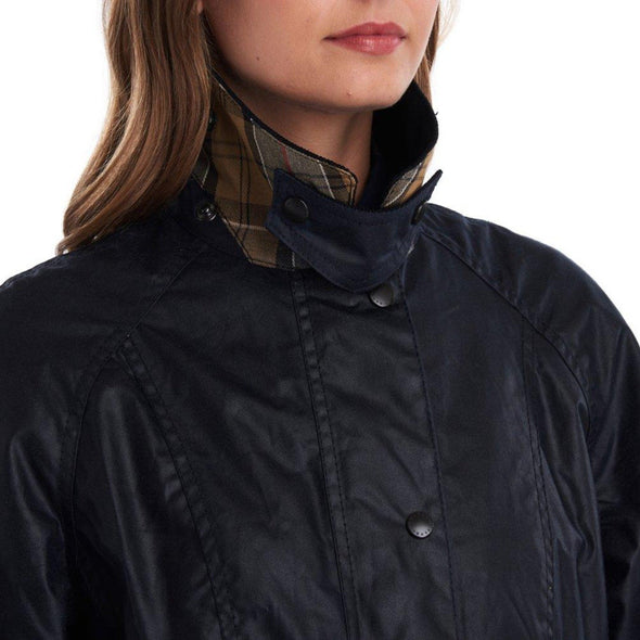 BARBOUR WOMENS BEADNELL WAX JACKET- NAVY