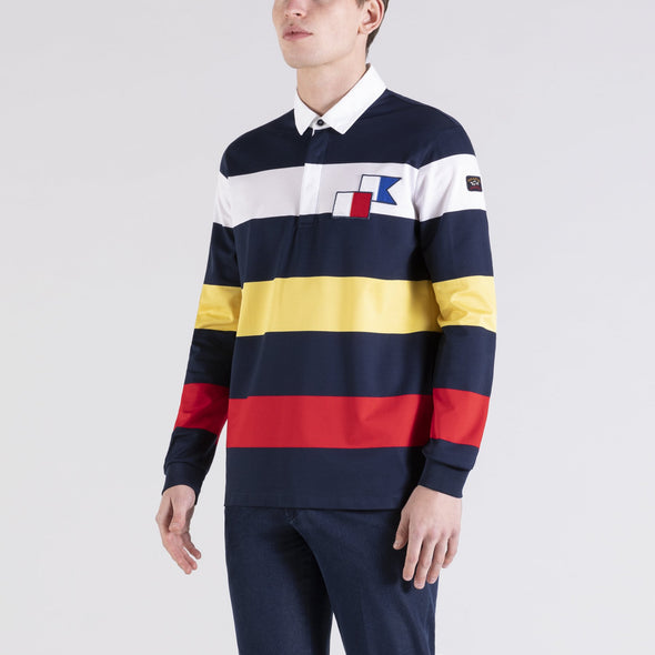 PAUL & SHARK STRIPE LONG SLEEVE POLO