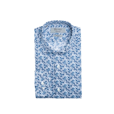 HENRY SARTORIAL FLORAL SHIRT NAVY BLUE