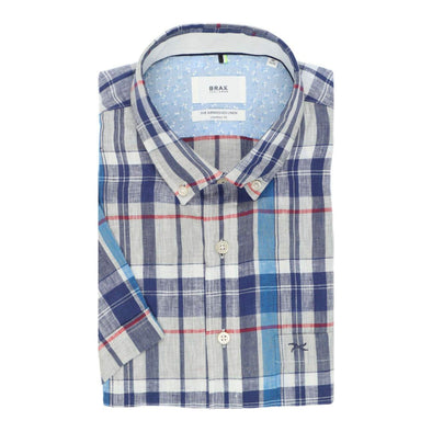 BRAX AIRWASH LINEN S/S SHIRT BLUE