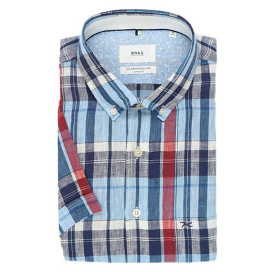 BRAX AIRWASH LINEN S/S SHIRT RED