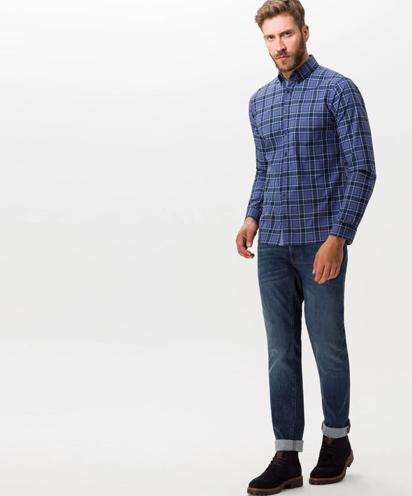 BRAX CHECK HI-FLEX SHIRT BLUE
