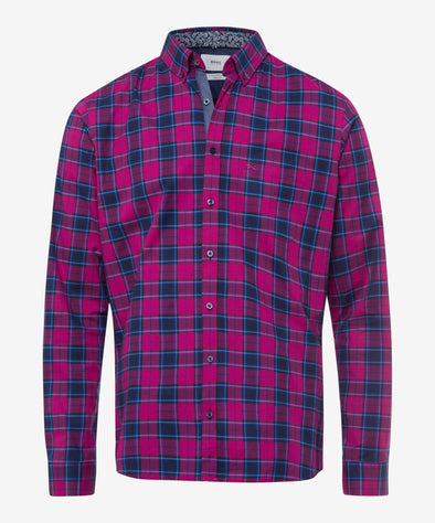 BRAX CHECK HI-FLEX SHIRT  MAGENTA