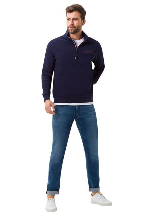 BRAX SION HALF ZIP COTTON KNIT