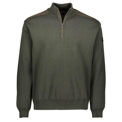 P&S MOCKNECK 1/2 ZIP WOOL KNIT OLIVE