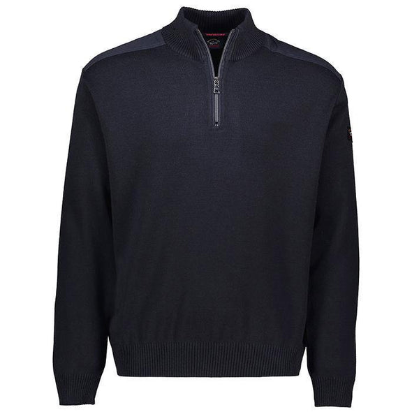 P&S MOCKNECK 1/2 ZIP WOOL KNIT NAVY