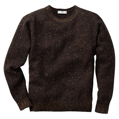 INIS MEAIN DONEGAL CREW NECK KNIT- BROWN