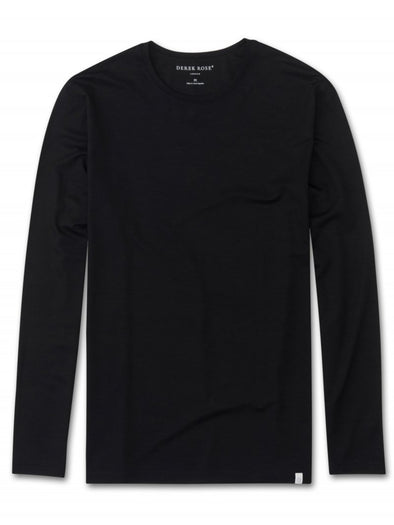 DEREK ROSE BASEL LONG SLEEVE T-SHIRT BLACK