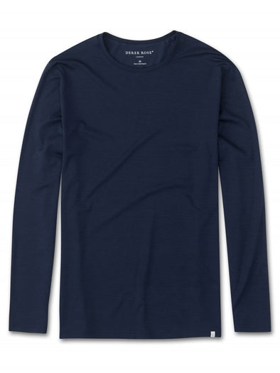DEREK ROSE BASEL LONG SLEEVE T-SHIRT NAVY