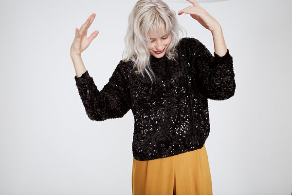 Sequin Sweater - Black Sequin