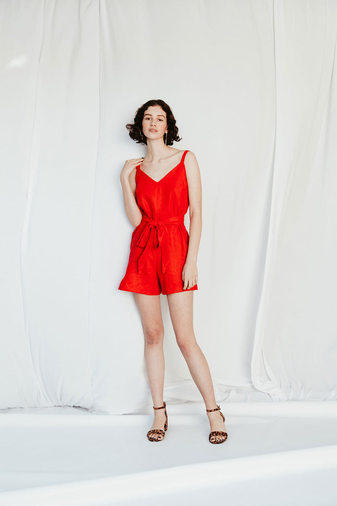 Strappy Playsuit  - Red Linen