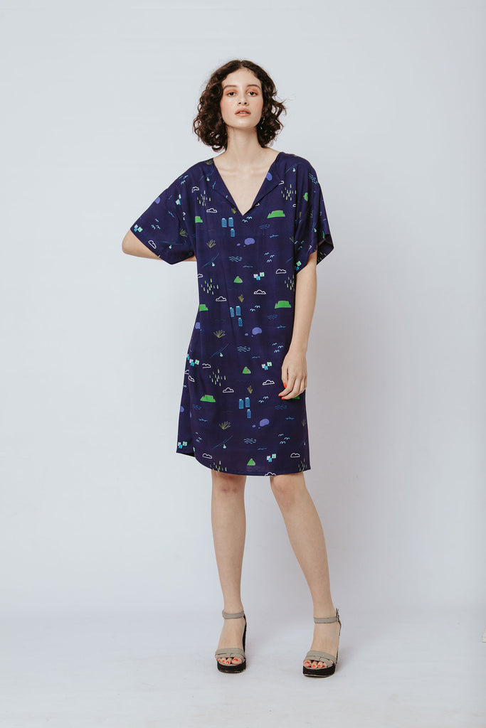 Resort Tunic - Navy Cape Town Scene