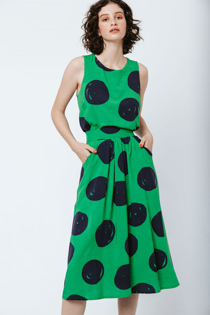 Smarty Skirt - Green Giant Dots