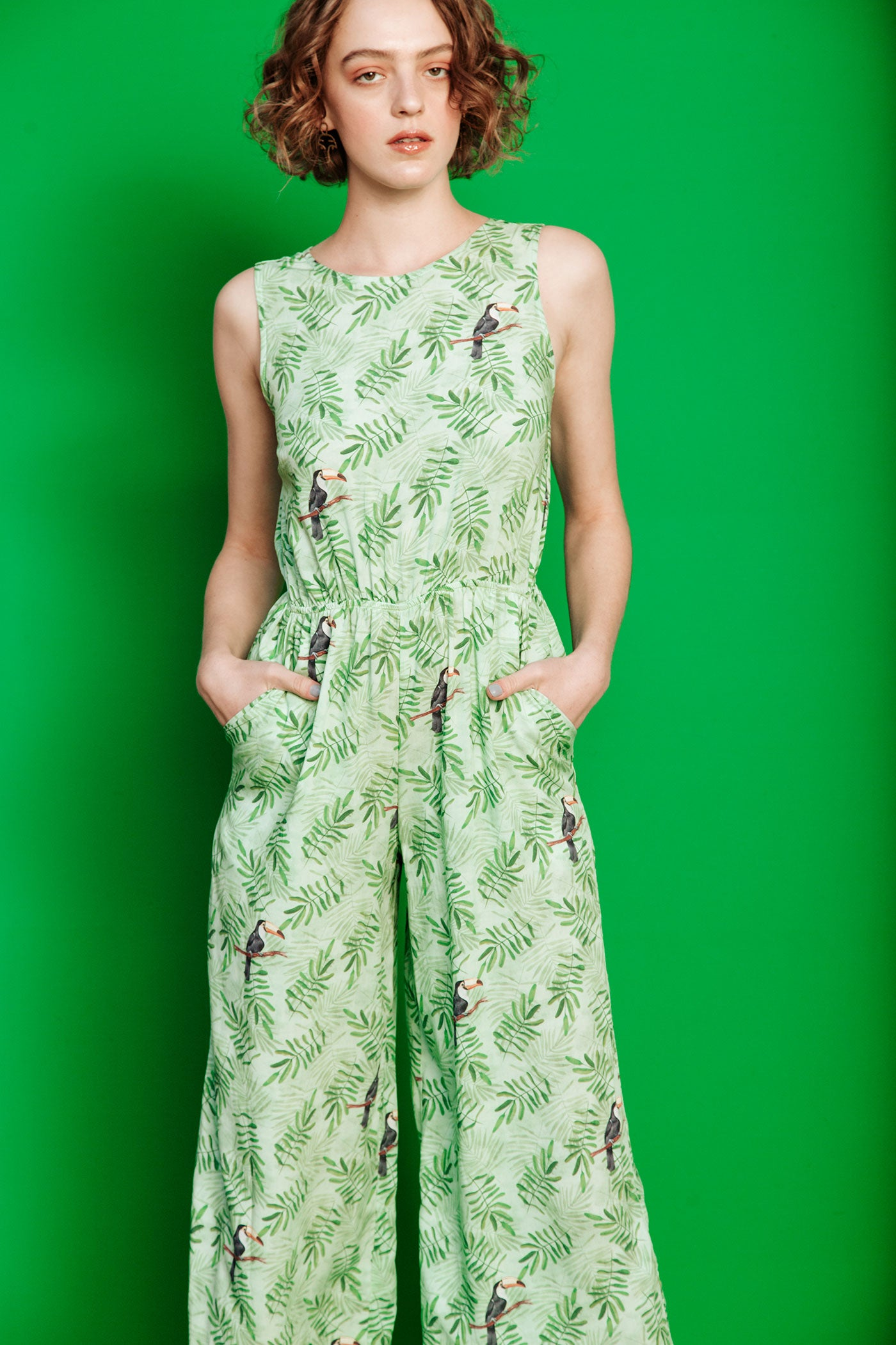 Toucan Jumpsuit - Green Toucans (sizes available: 30, 32 & 34)