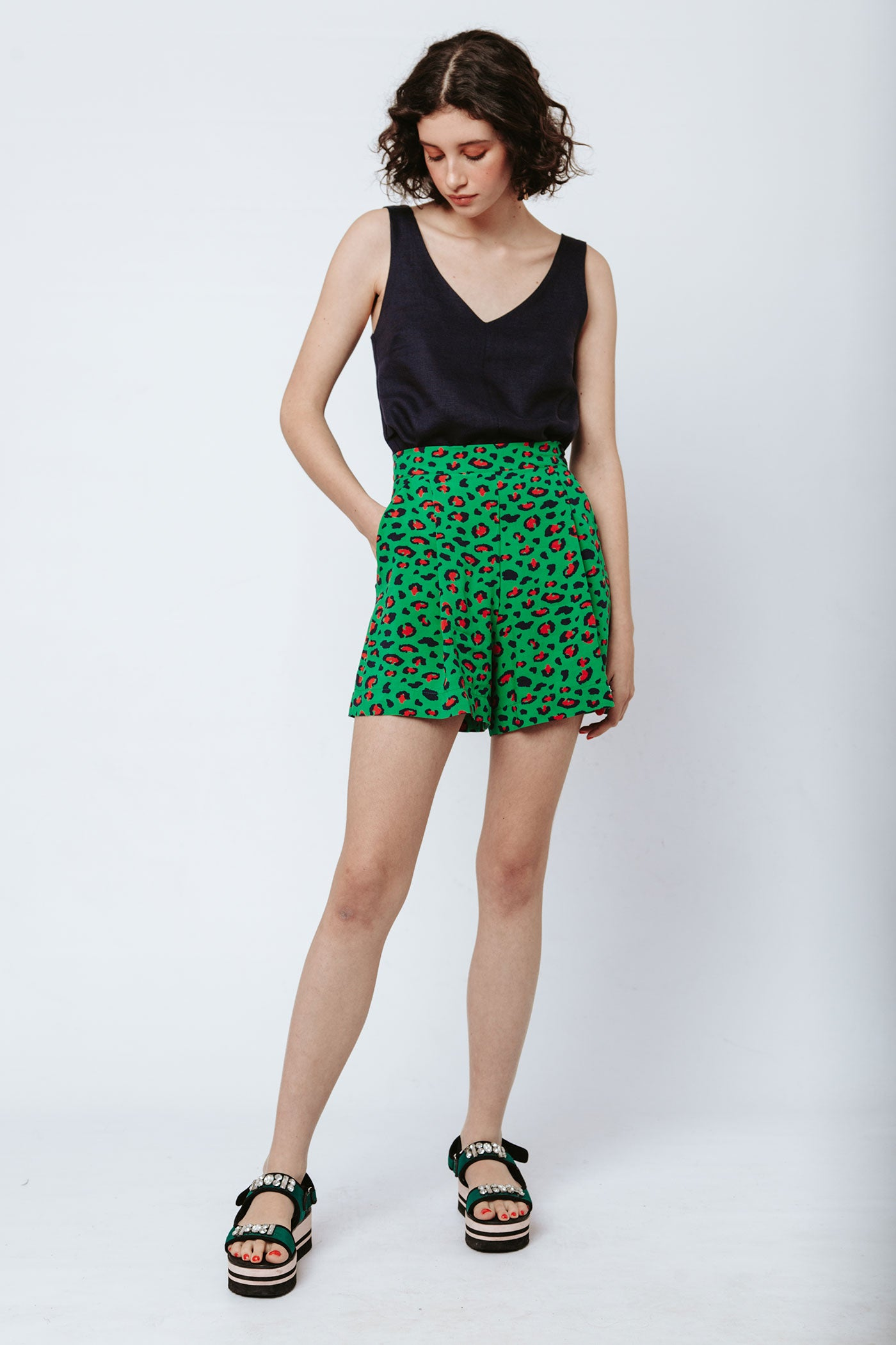 Gardening Shorts - Green Leopard (sizes available: 30 & 36)