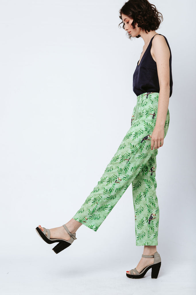 Kandy Pants - Green Toucans (sizes available 30, 32 & 34)