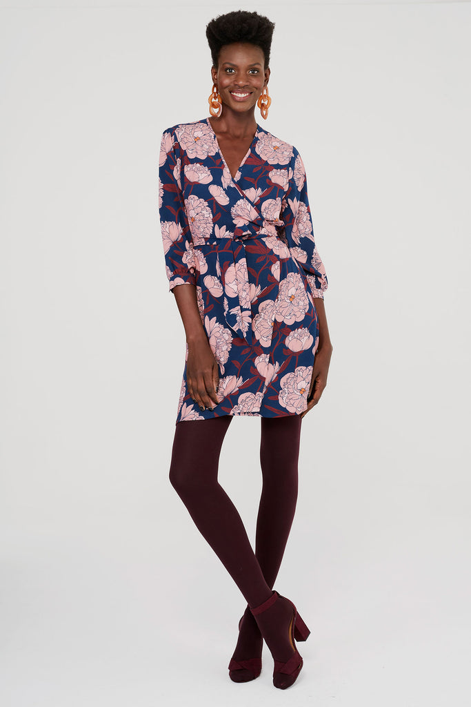 Olive Wrap Dress - Pink Giant Floral