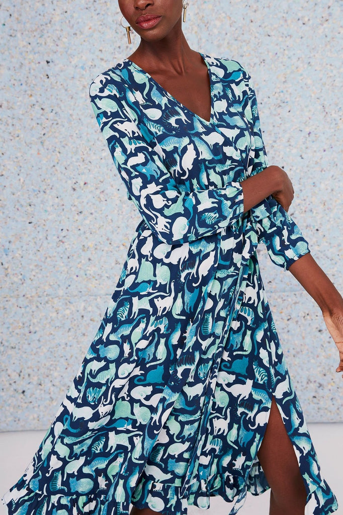 Daydream Wrap Dress - Blue Cats