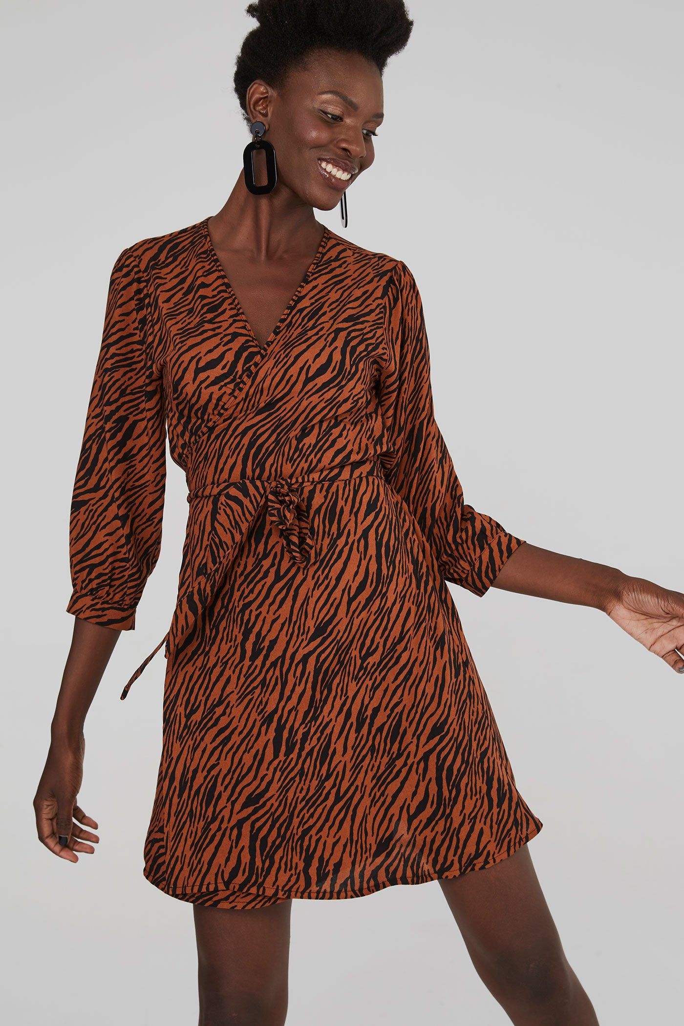 Olive Wrap Dress - Tan Tiger