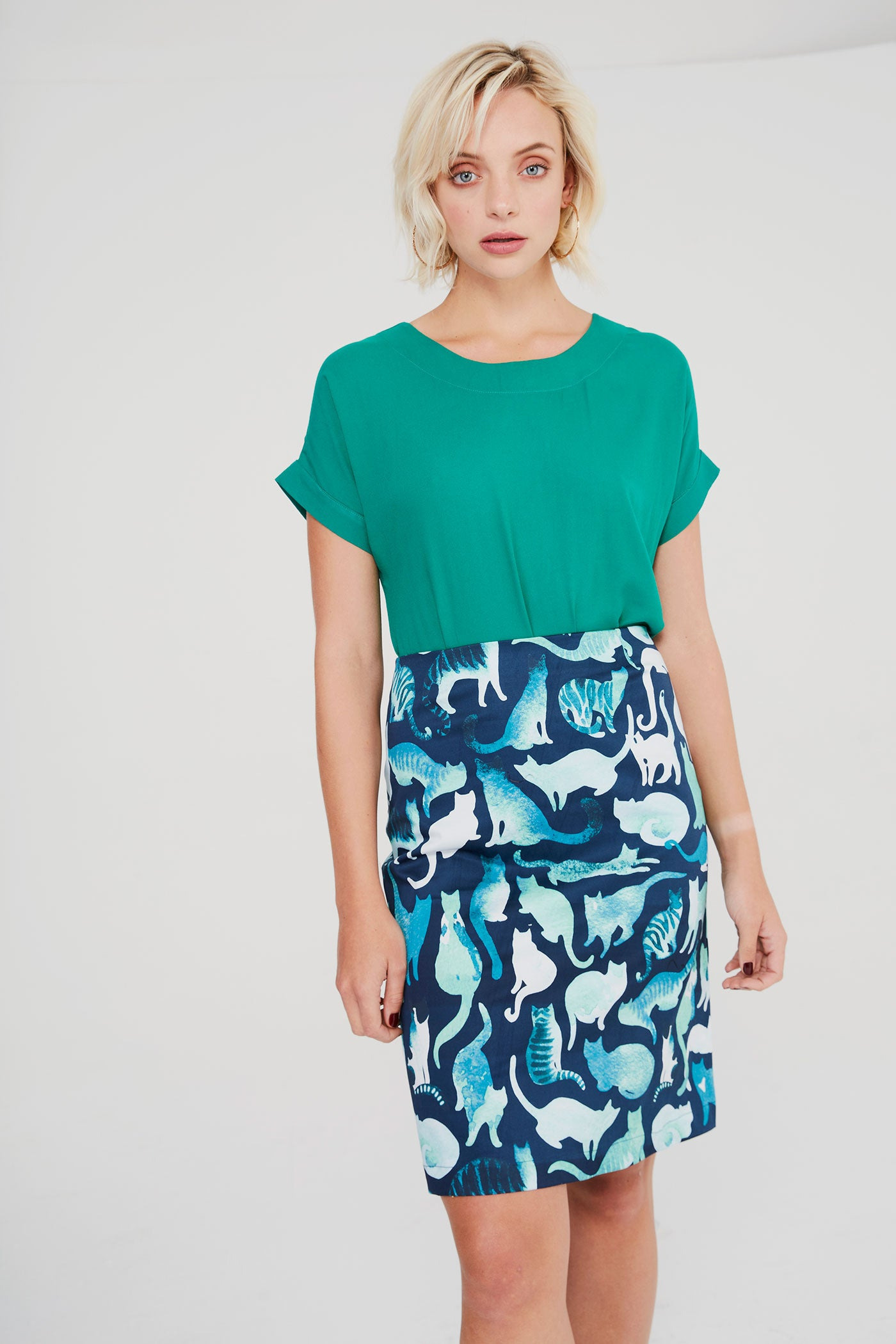 Pencil Skirt - Blue Cats