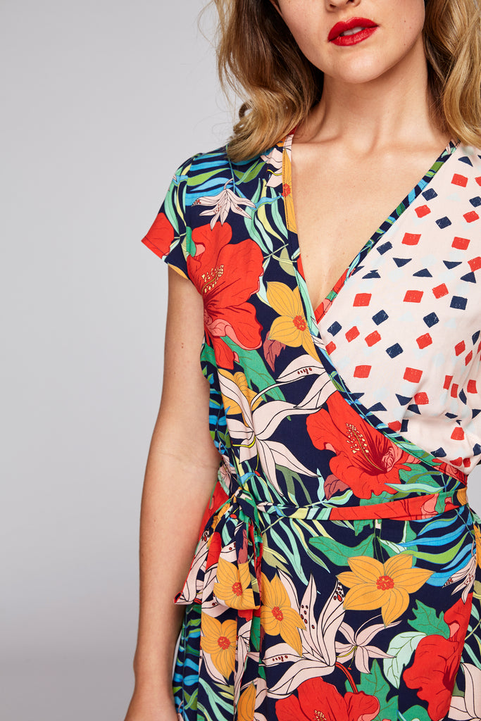 Wrap Dress - Tropical & Pink Geo