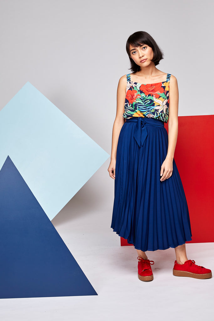 Pleated Wrap Skirt - Navy