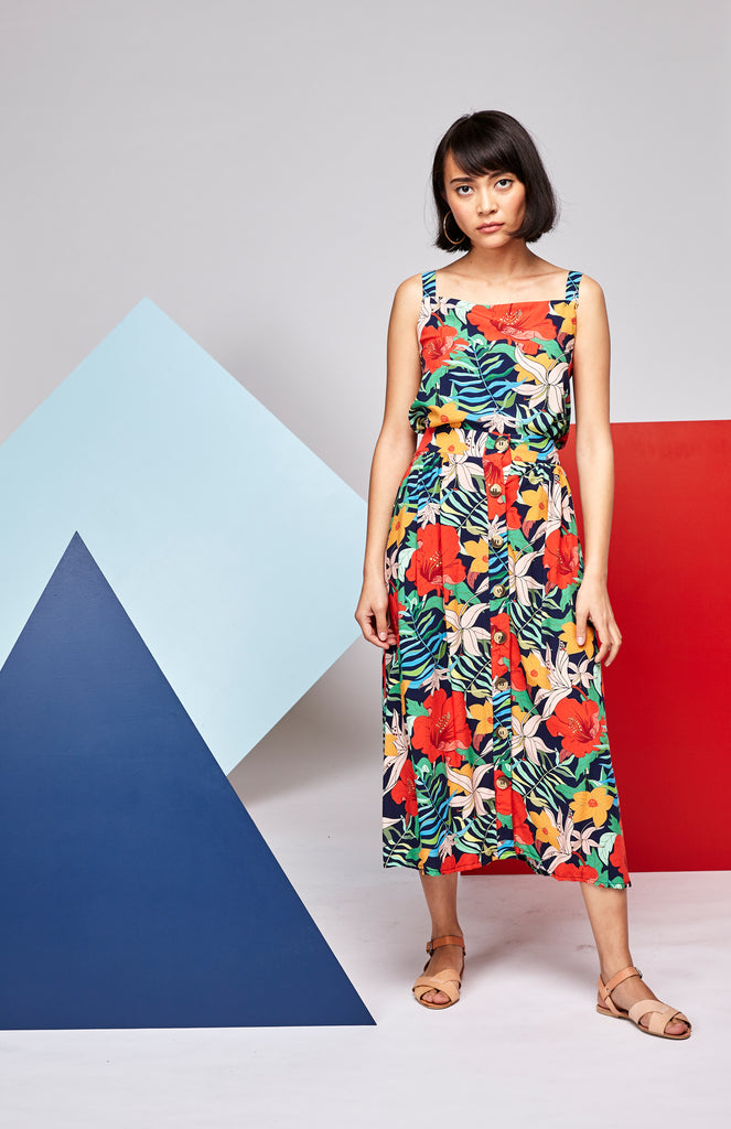 Button HW Skirt - Tropical