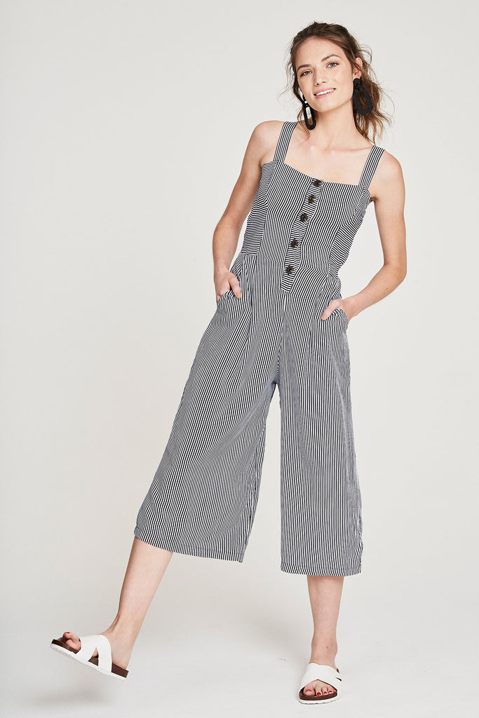 50's Jumpsuit - Navy Stripe